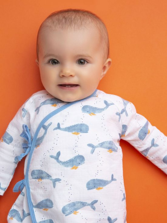 Baby Whale Muslin Wrap Coverall 0-3 Months