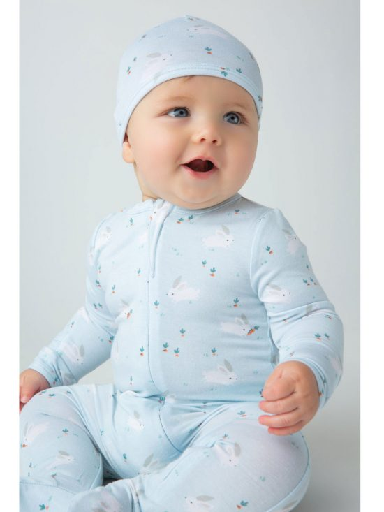 Baby Bunnies Blue Footie Alternate 2