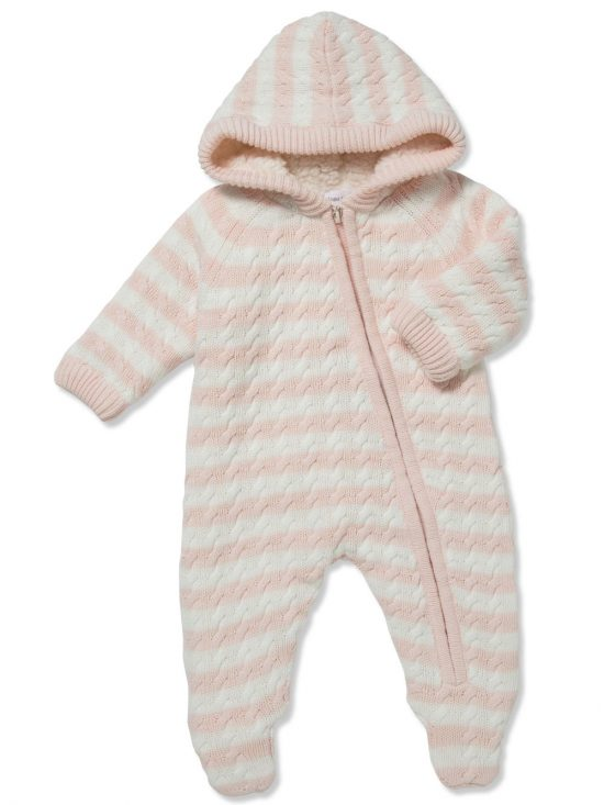 Cardigan Sherpa Hooded Footie Pale Pink and White Main