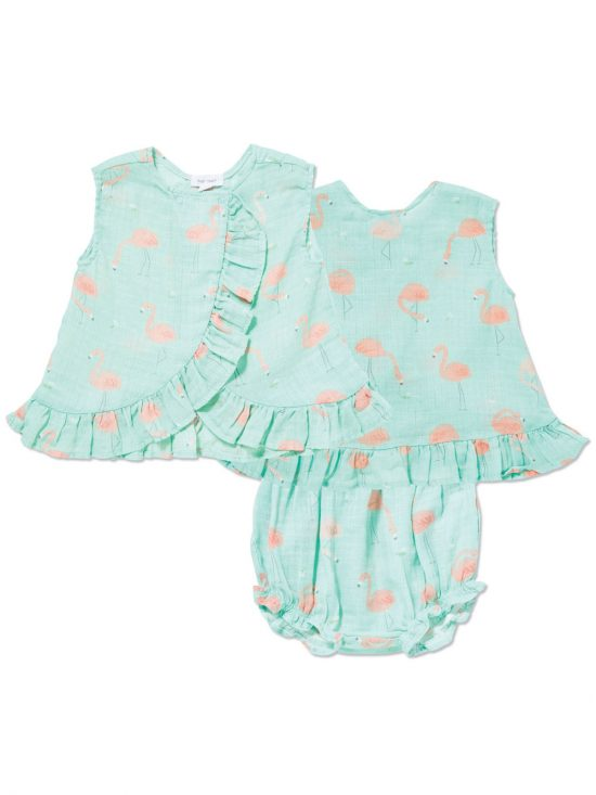 Flamingo Muslin Ruffle Top and Bloomer