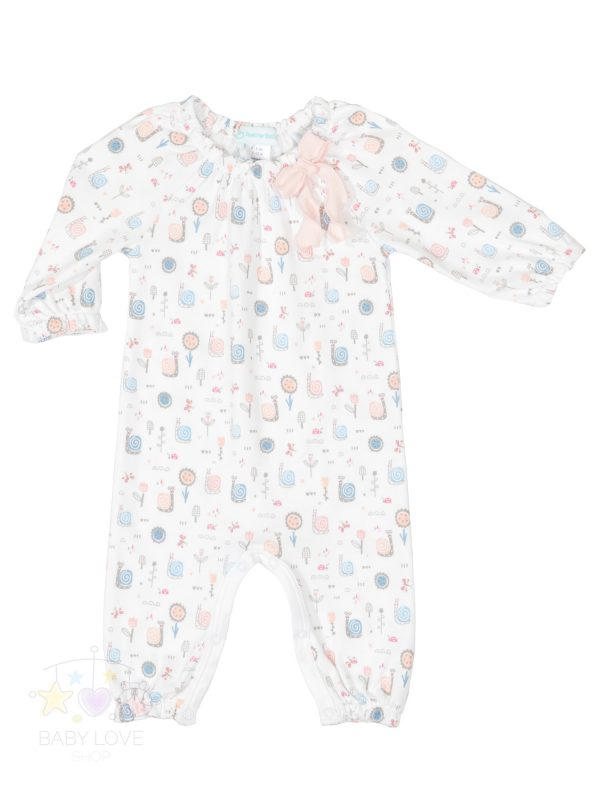 Feather Baby -Front Bow Romper - Snails on White Collection - Baby Outfits