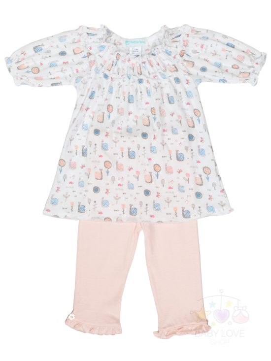 Front View Ruched Tunic Set - Snails on White | Feather Baby - Baby Clothes