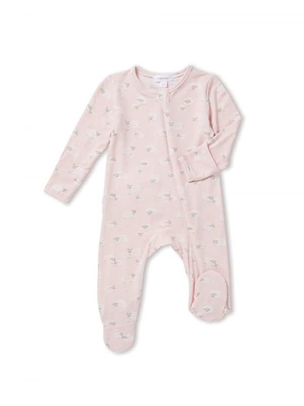 Slow Life Sheep Pink Zipper Footie - Angel Dear