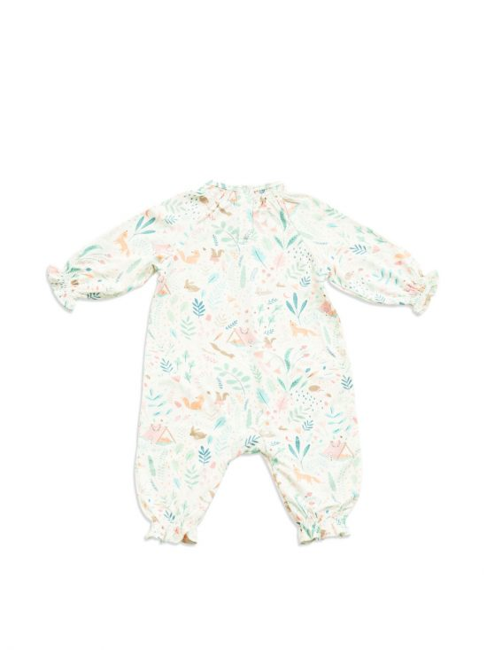 Smocked Romper Back Woodland Floral-Angel Dear