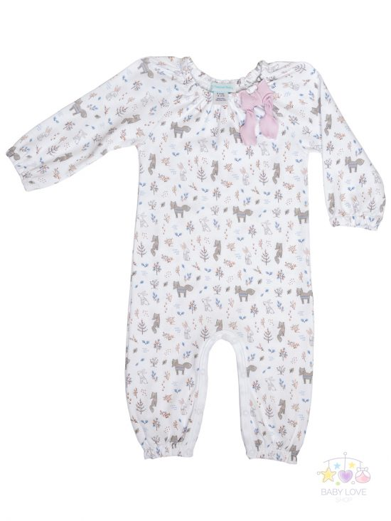 Foxes and Bunnies Bow Romper Front Baby clothes